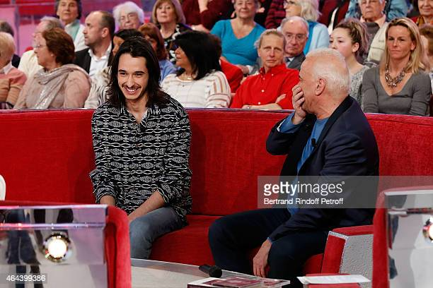 Alexis Fugain and Singer Michel Fugain attend the 'Vivement Dimanche' French TV Show at Pavillon Gabriel on February 25 2015 in Paris France