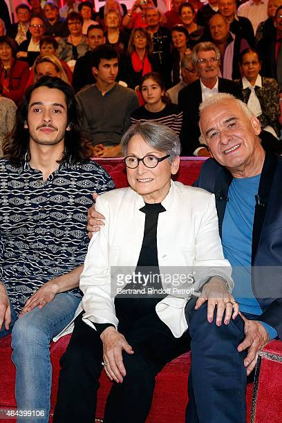 Alexis Fugain Claude Fugain and Michel Fugain attend the 'Vivement Dimanche' French TV Show at Pavillon Gabriel on February 25 2015 in Paris France