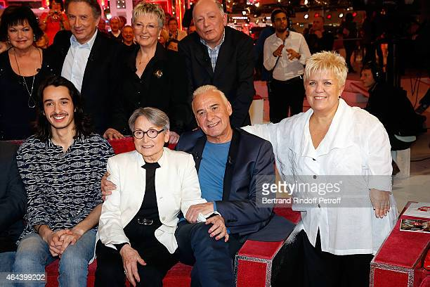 Alexis Fugain Claude Fugain Michel Fugain and Mimie Mathy attend the 'Vivement Dimanche' French TV Show at Pavillon Gabriel on February 25 2015 in...