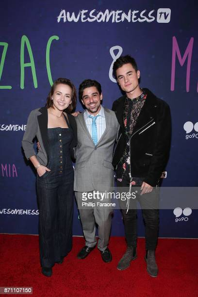 Alexis G Zall Jason Pearlman and Kian Lawley attend the 'Zac Mia' premiere event at Awesomeness HQ on November 6 2017 in Los Angeles California