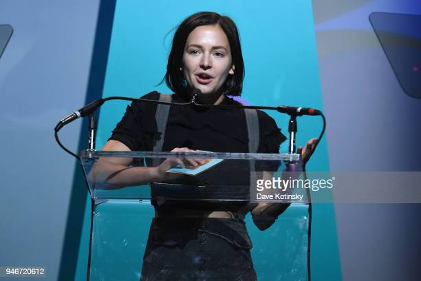 Alexis G Zall speaks onstage during the 10th Annual Shorty Awards at PlayStation Theater on April 15 2018 in New York City