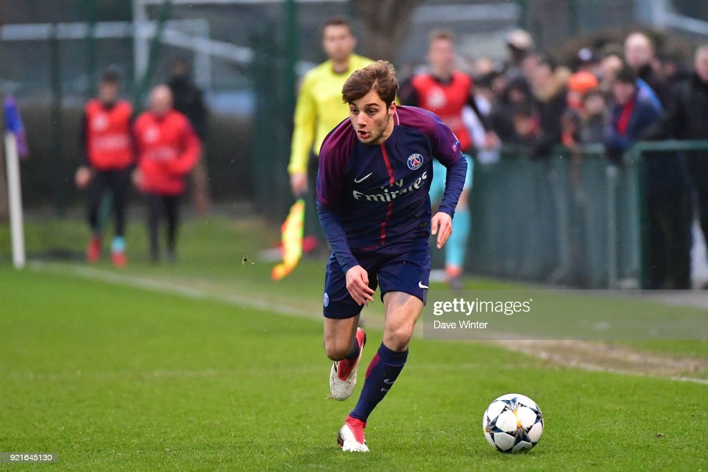 Alexis Giacomini of PSG during the UEFA Youth League match (round of 16) between Paris Saint Germain (PSG) and FC Barcelona, on February 20, 2018 in Saint Germain en Laye, France.