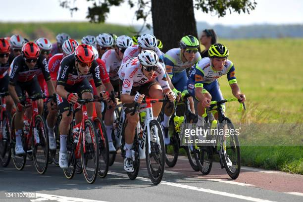 Alexis Gougeard of France and AG2R Citröen Team leads The Peloton during the 11th Primus Classic 2021 a 197,7km race from Brakel to Boortmeerbeek /...