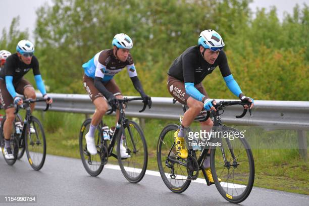 Alexis Gougeard of France and Team AG2R La Mondiale / Alexandre Geniez of France and Team AG2R La Mondiale / Peloton / Rain / during the 71st...