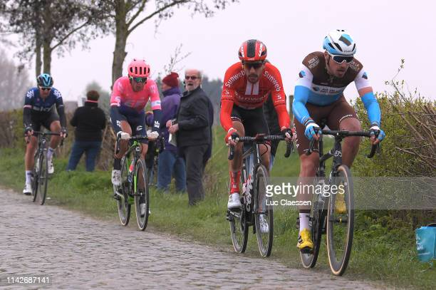 Alexis Gougeard of France and Team AG2R La Mondiale / Roy Curvers of The Netherlands and Team Sunweb / Cobblestones / during the 117th Paris-Roubaix...