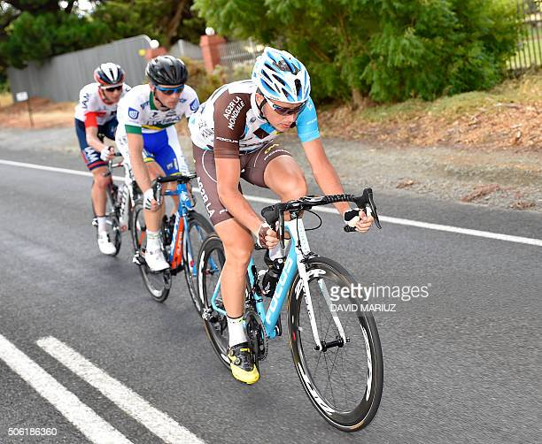 Alexis Gougeard of France leads Patrick Shaw of Australia and David Tanner of Australia in an early break away in stage four of the Tour Down Under...