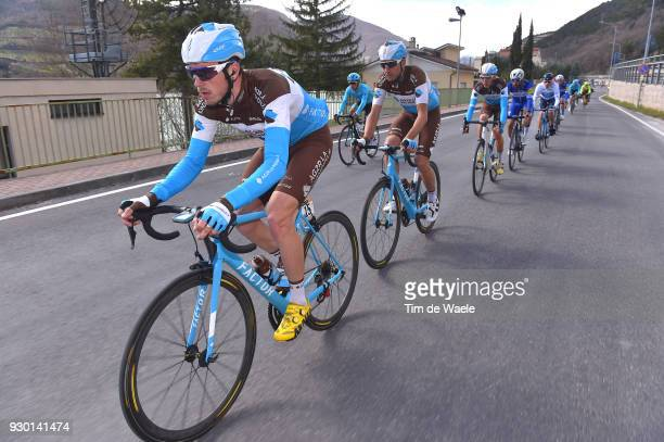 Alexis Gougeard of France Matteo Montaguti of Italy Romain Bardet of France during the 53rd TirrenoAdriatico 2018 Stage 4 a 219km stage from...