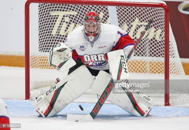 Alexis Gravel of Team Orr faces an incoming shot against Team Cherry in the 2018 SherwinWilliams CHL/NHL Top Prospects game at the Sleeman Centre on...