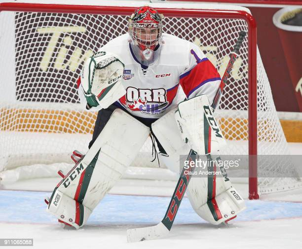 Alexis Gravel of Team Orr gets set to face a puck against Team Cherry in the 2018 SherwinWilliams CHL/NHL Top Prospects game at the Sleeman Centre on...