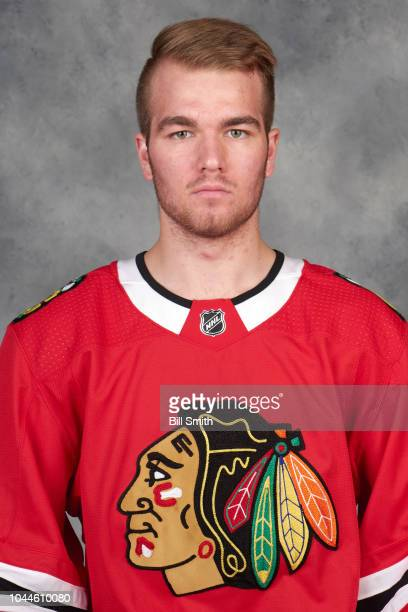 Alexis Gravel of the Chicago Blackhawks poses for his official headshot for the 20182019 season on September 14 2018 at the United Center in Chicago...