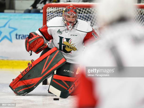 Alexis Gravel of the Halifax Mooseheads defends his net during the warmup prior to the QMJHL game against the BlainvilleBoisbriand Armada at Centre...