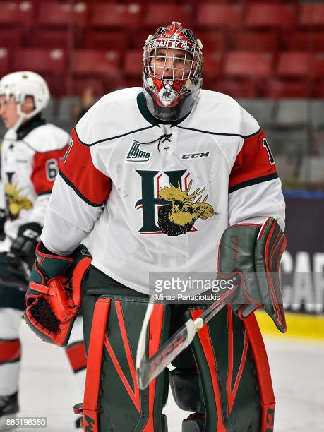 Alexis Gravel of the Halifax Mooseheads looks on as he skates against the BlainvilleBoisbriand Armada during the warmup prior to the QMJHL game at...