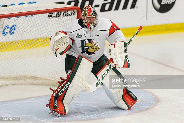 Alexis Gravel of the Halifax Mooseheads looks on during the warmup prior to the QMJHL game against the BlainvilleBoisbriand Armada at the Centre...