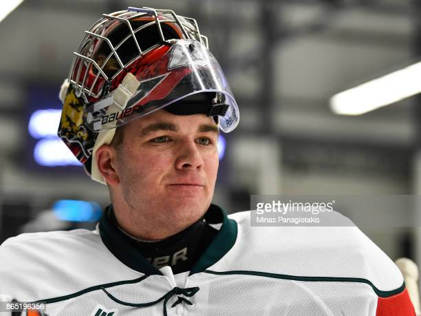 Alexis Gravel of the Halifax Mooseheads looks on during the warmup prior to the QMJHL game against the BlainvilleBoisbriand Armada at Centre...