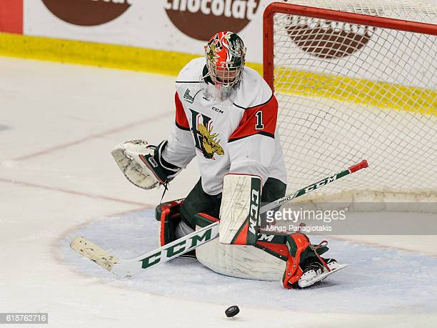 Alexis Gravel of the Halifax Mooseheads makes a save during the QMJHL game against the BlainvilleBoisbriand Armada at the Centre d'Excellence Sports...