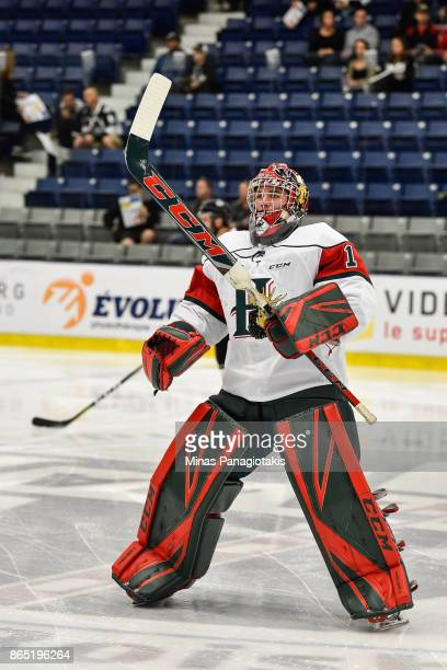 Alexis Gravel of the Halifax Mooseheads skates during the warmup prior to the QMJHL game against the BlainvilleBoisbriand Armada at Centre...