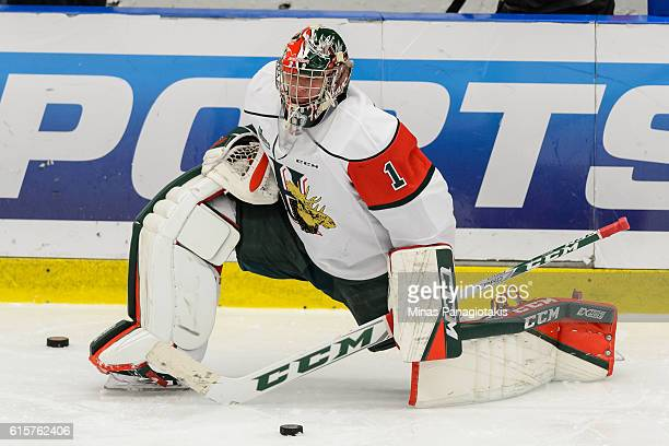 Alexis Gravel of the Halifax Mooseheads stretches during the warmup prior to the QMJHL game against the BlainvilleBoisbriand Armada at the Centre...