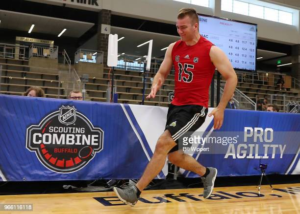 Alexis Gravel performs the pro agility test during the NHL Scouting Combine on June 2 2018 at HarborCenter in Buffalo New York