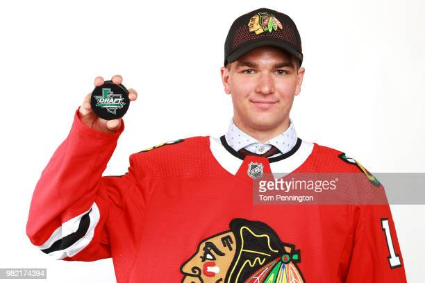 Alexis Gravel poses after being selected 162nd overall by the Chicago Blackhawks during the 2018 NHL Draft at American Airlines Center on June 23...