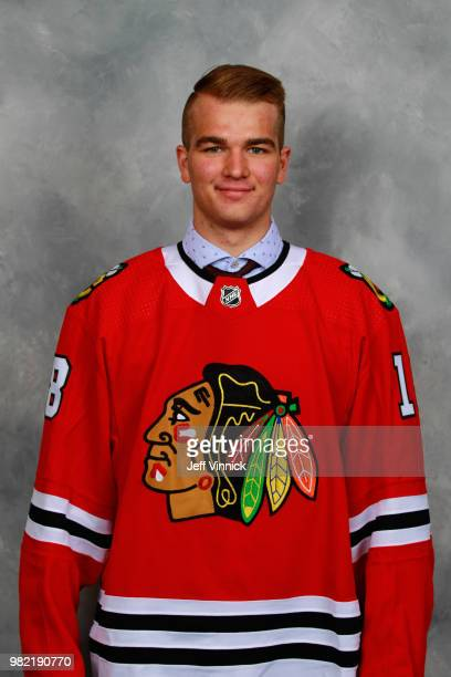 Alexis Gravel poses for a portrait after being selected 162nd overall by the Chicago Blackhawks during the 2018 NHL Draft at American Airlines Center...