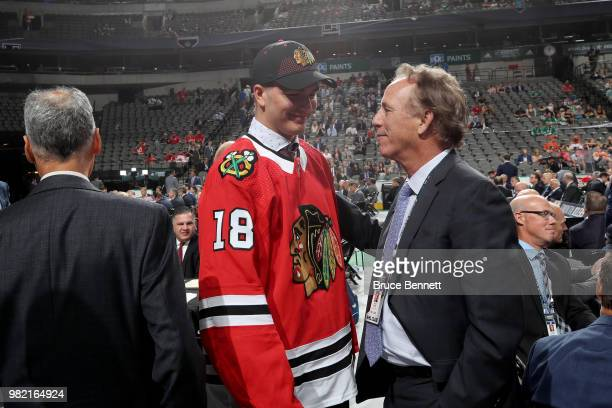 Alexis Gravel reacts after being selected 162nd overall by the Chicago Blackhawks during the 2018 NHL Draft at American Airlines Center on June 23...