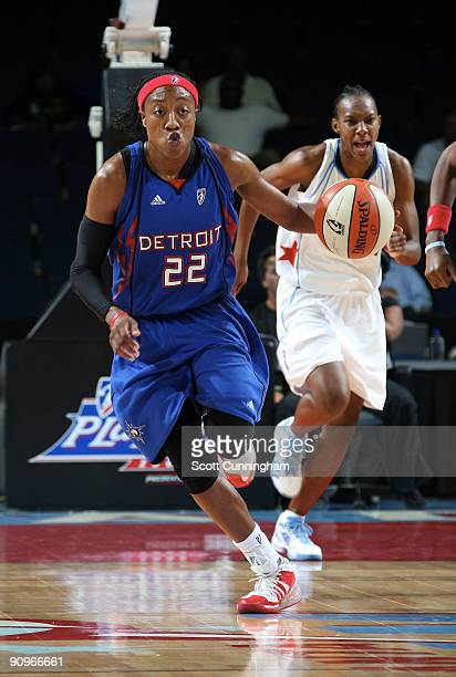 Alexis Hornbuckle of the Detroit Shock drives during Game 2 of the WNBA Eastern Conference Semifinals against the Atlanta Dream at Gwinnett Arena on...