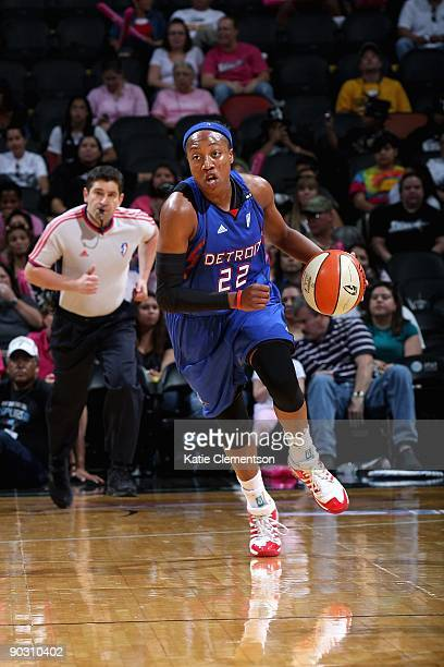 Alexis Hornbuckle of the Detroit Shock drives the ball up court during the WNBA game against the San Antonio Silver Stars on August 29 2009 at the...