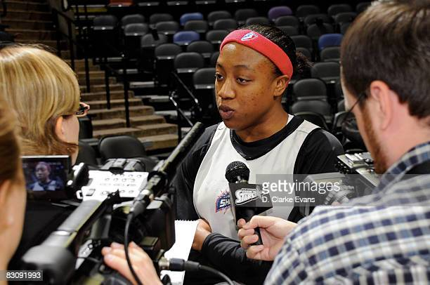 Alexis Hornbuckle of the Detroit Shock speaks to the media during media availability after Game One of the WNBA Finals on October 2 2008 at ATT...