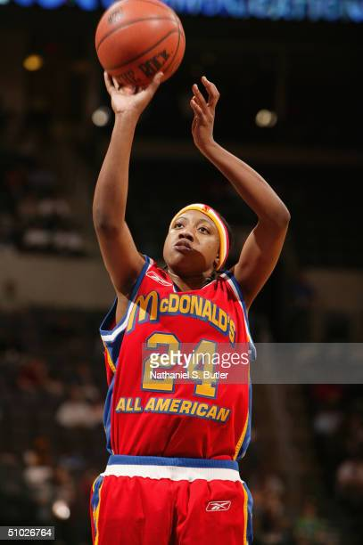 Alexis Hornbuckle of the East Girls shoots a free throw against the West Girls during the 2004 McDonald's High School All-American Game at Ford...