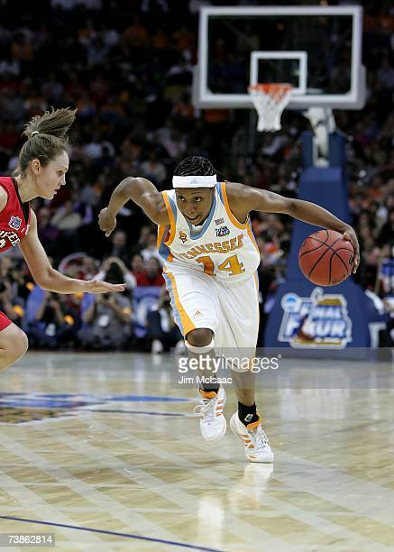 Alexis Hornbuckle of the Tennessee Lady Volunteers drives against the Rutgers Scarlet Knights during the 2007 NCAA Women's Basketball Championship...
