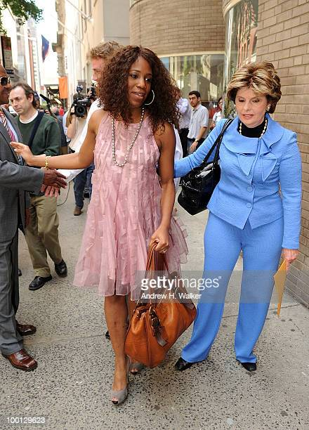 Alexis Houston and attorney Gloria Allred address the press to deny the rumors of a romantic relationship between Houston and Matt Lauer outside...