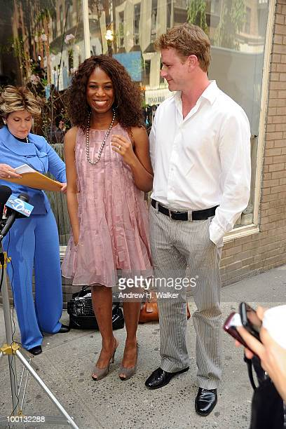 Alexis Houston with her boyfriend Matt Lunsford addresses the press to deny the rumors of a romantic relationship with Matt Lauer outside Michael's...