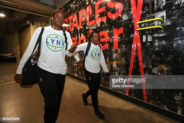 Alexis Jones and Jia Perkins of the Minnesota Lynx of the Los Angeles Sparks arrives for Game Three of the 2017 WNBA Finals on September 29 2017 in...