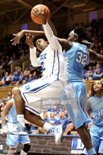 Alexis Jones of the Duke Blue Devils puts up a shot against Waltiea Rolle of the North Carolina Tar Heels at Cameron Indoor Stadium on March 3 2013...