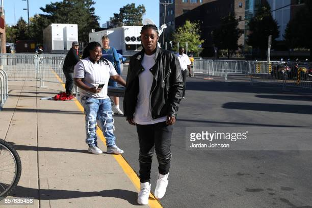 Alexis Jones of the Minnesota Lynx arrives before the game against the Los Angeles Lakers in Game 5 of the 2017 WNBA Finals on October 4 2017 in...