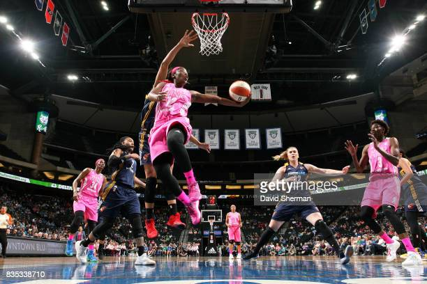 Alexis Jones of the Minnesota Lynx goes for a lay up during the game against the Indiana Fever during the WNBA game on August 18 2017 at Xcel Energy...