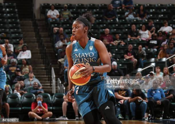 Alexis Jones of the Minnesota Lynx handles the ball against the Indiana Fever on August 30 2017 at Bankers Life Fieldhouse in Indianapolis Indiana...