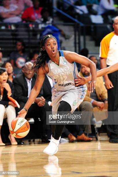 Alexis Jones of the Minnesota Lynx handles the ball during the game against the Atlanta Dream during at WNBA game on August 8 2017 at Hank McCamish...