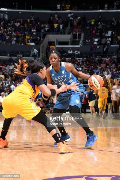 Alexis Jones of the Minnesota Lynx handles the ball during the game against the Los Angeles Sparks during a WNBA game on August 27 2017 at STAPLES...