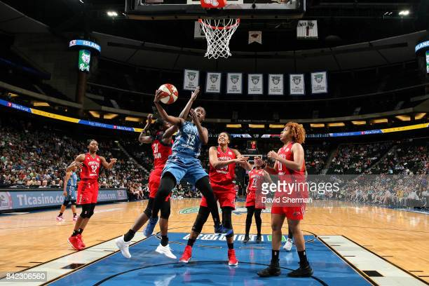 Alexis Jones of the Minnesota Lynx shoots a lay up during the game against the Washington Mystics on September 3 2017 at Xcel Energy Center in St...