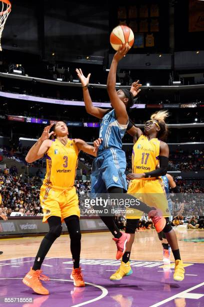 Alexis Jones of the Minnesota Lynx shoots the ball during the game against the Los Angeles Sparks in Game Three of the 2017 WNBA Finals on September...