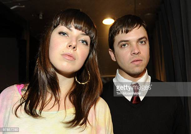 Alexis Krauss and Derek E Miller of Sleigh Bells pose at the NPR Day Party at The Parish as part of SXSW 2010 on March 18 2010 in Austin Texas