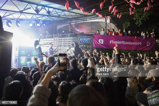 Alexis Krauss and Derek Edward Miller of Sleigh Bells perform onstage during Never Going Back Presented by Tumblr in support of Planned Parenthood at...
