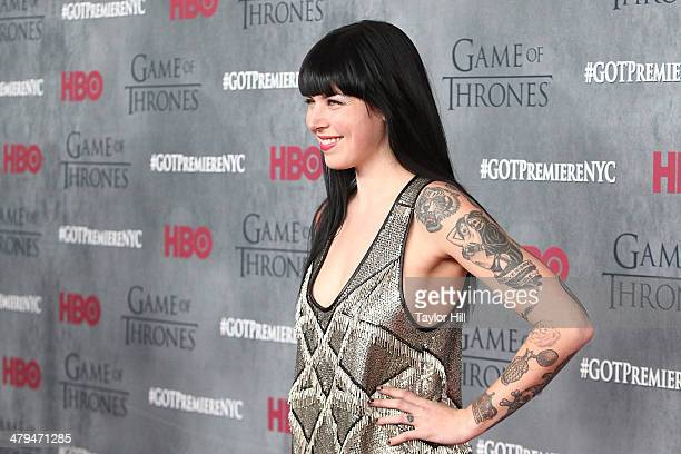 Alexis Krauss of Sleigh Bells attends the 'Game Of Thrones' Season 4 premiere at Avery Fisher Hall Lincoln Center on March 18 2014 in New York City
