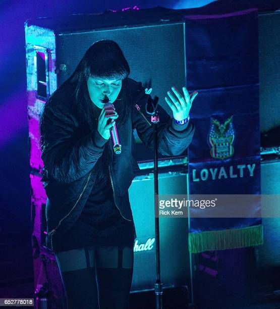 Alexis Krauss of Sleigh Bells performs onstage during Never Going Back Presented by Tumblr in support of Planned Parenthood at Mohawk on March 12...