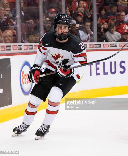 Alexis Lafreniere of Canada skates in Group A hockey action of the 2019 IIHF World Junior Championship action against Switzerland on December 2018 at...