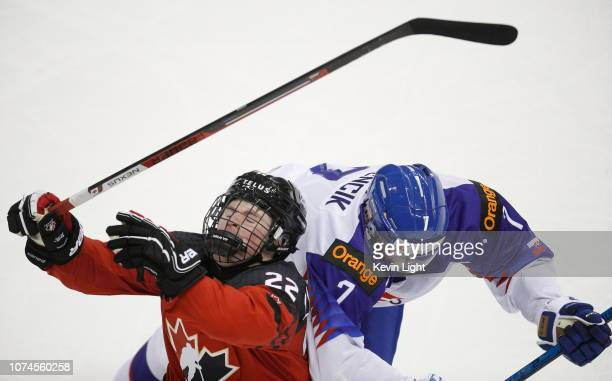 Alexis Lafreniere of Team Canada is checked by Marek Korencik of Team Slovakia at the IIHF World Junior Championships at the SaveonFoods Memorial...