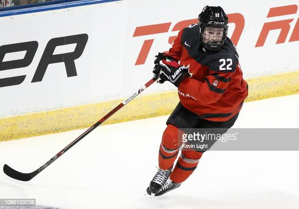 Alexis Lafreniere of Team Canada skates during a game versus Team Switzerland at the IIHF World Junior Championships at the SaveonFoods Memorial...