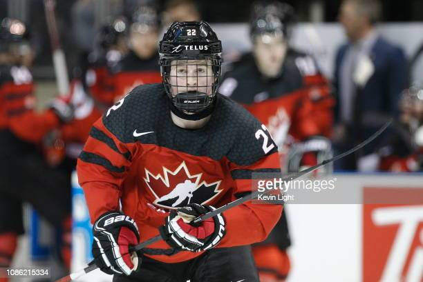 Alexis Lafreniere of Team Canada skates versus Team Slovakia at the IIHF World Junior Championships at the SaveonFoods Memorial Centre on December 21...