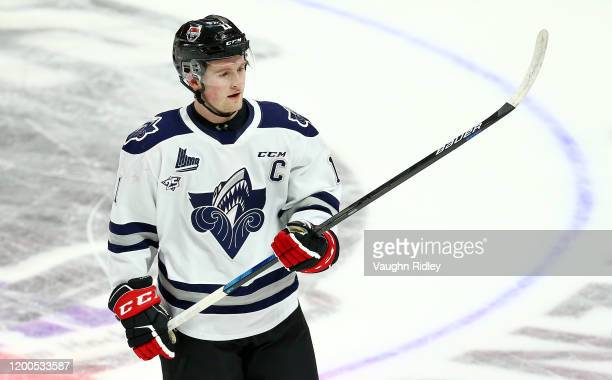 Alexis Lafreniere of Team White skates during warm up for the 2020 CHL/NHL Top Prospects Game against Team Red at FirstOntario Centre on January 16,...